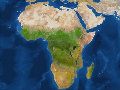 Африка после потопа (белая линия - до потопа)