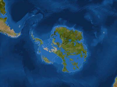 Антарктида после потопа (белая линия - до потопа)