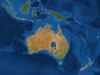 Австралия после потопа (белая линия - до потопа)