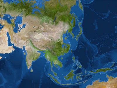 Азия после потопа (белая линия - до потопа)