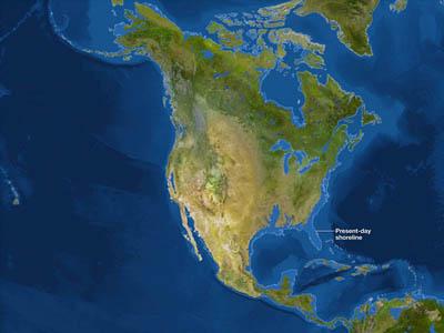 Северная Америка после потопа (белая линия - до потопа)