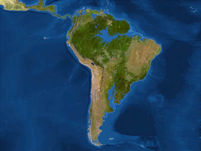 Южная Америка после потопа (белая линия - до потопа)